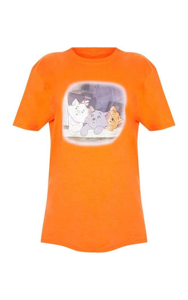 Orange Aristocat Printed Oversized T shirt, Orange