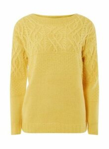 Womens Yellow Cable Yoke Detail Jumper- Yellow, Yellow