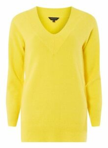 Womens Yellow V-Neck Jumper- Yellow, Yellow