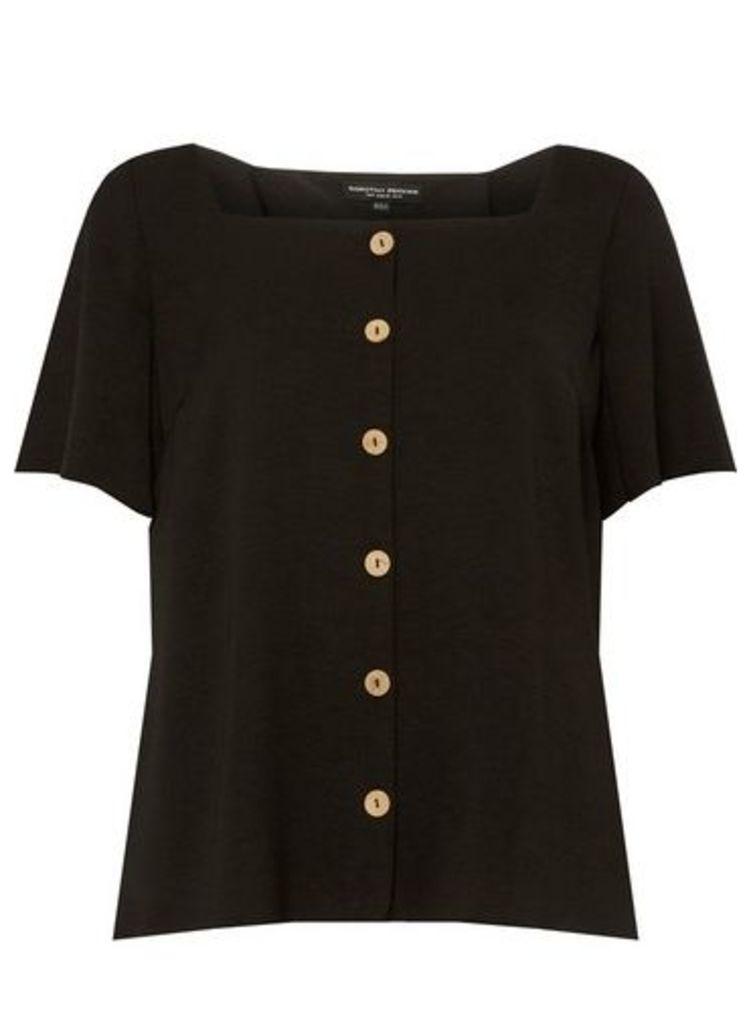 Womens Black Button Square Neck Shirt- Black, Black