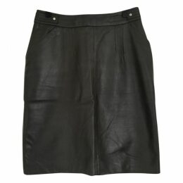 Straight leather skirt.