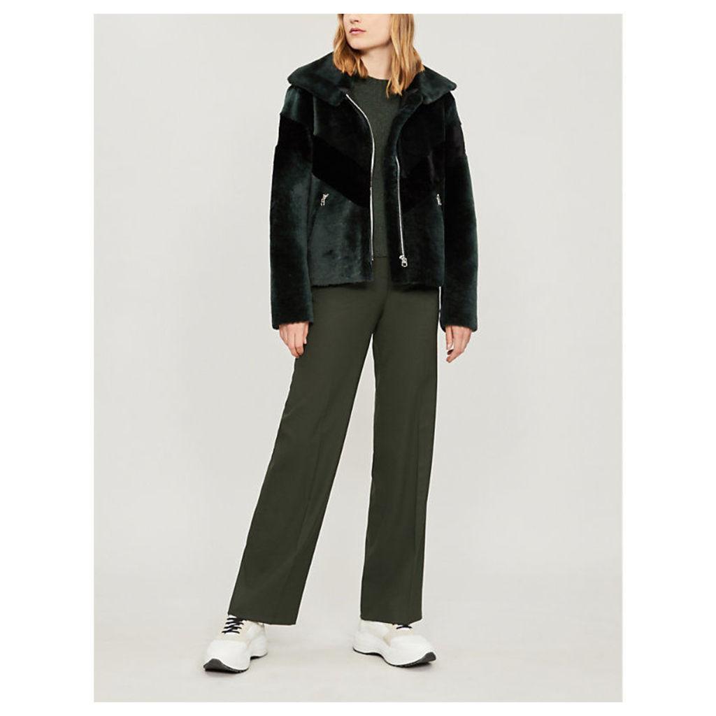 Chevron-stripe shearling jacket