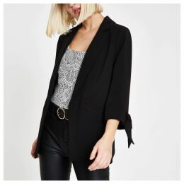 Womens Black bow cuff blazer