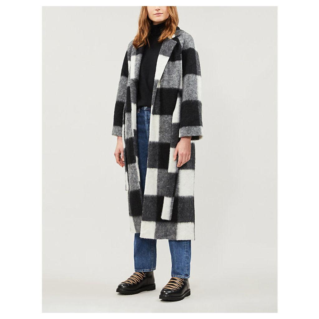 Mckinney checked wool-blend coat
