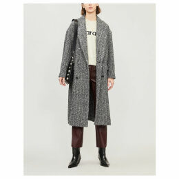 Double-breasted textured alpaca and wool-blend coat