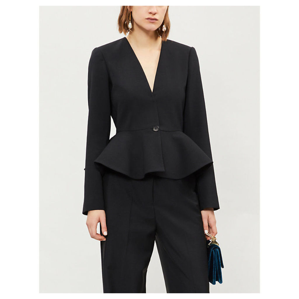 Frilled-hem stretch-wool jacket