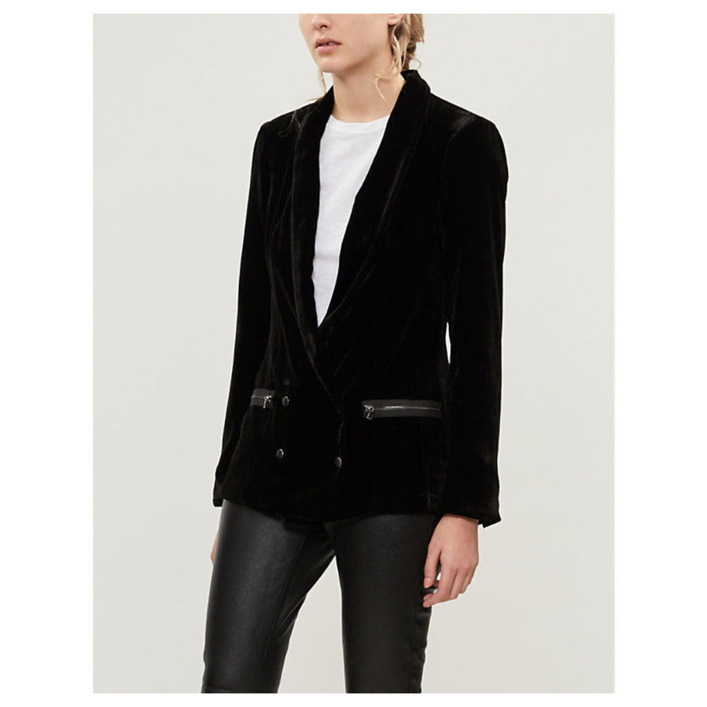 Karissa double-breasted shawl-collar velvet blazer
