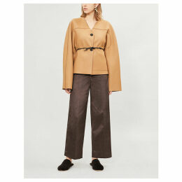 Belted fleece wool-blend jacket