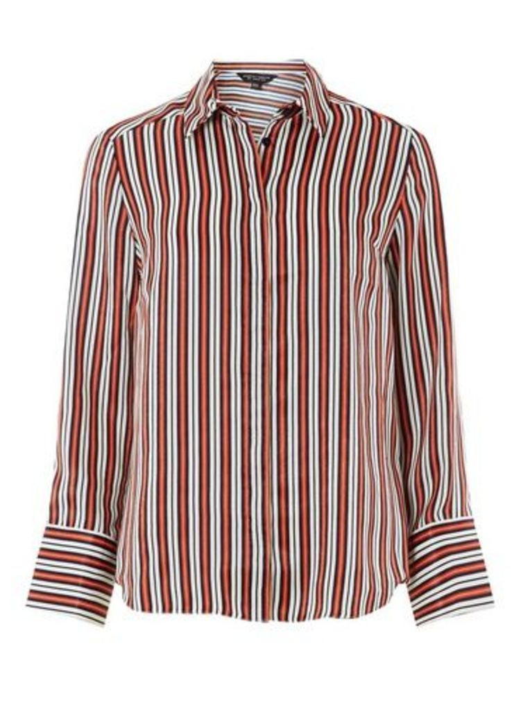 Womens **Red Striped Peachskin Shirt- Red, Red