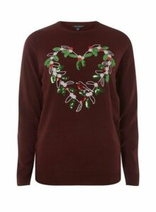 Womens Burgundy Sequin Wreath Jumper- Red, Red