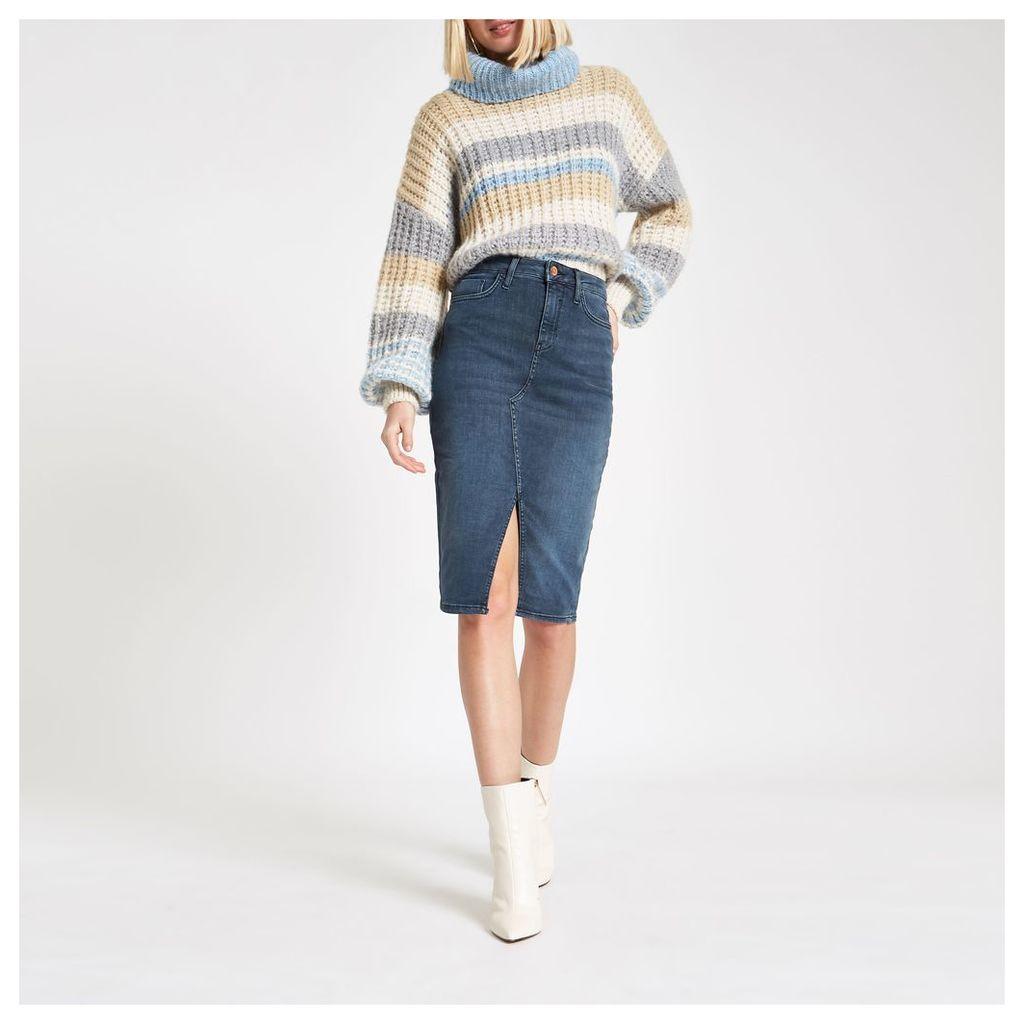 River Island Womens Blue grey denim pencil skirt