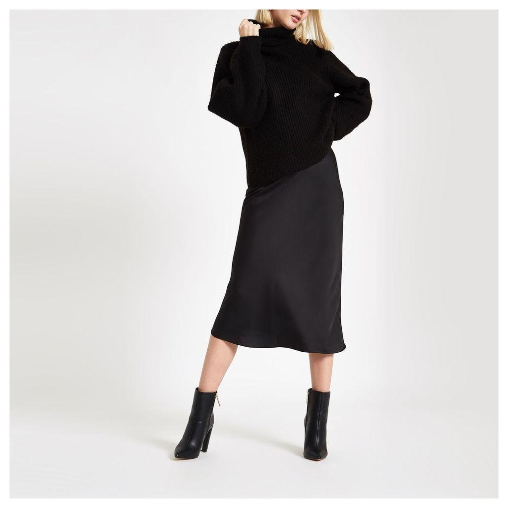 Womens Black bias cut midi skirt