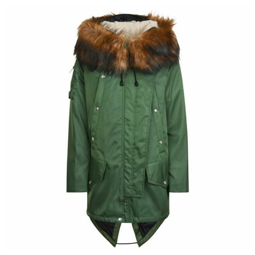 BURBERRY Faux Fur Trim Parka