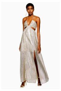 Womens Glitter Cut-Out Maxi Dress - Silver, Silver