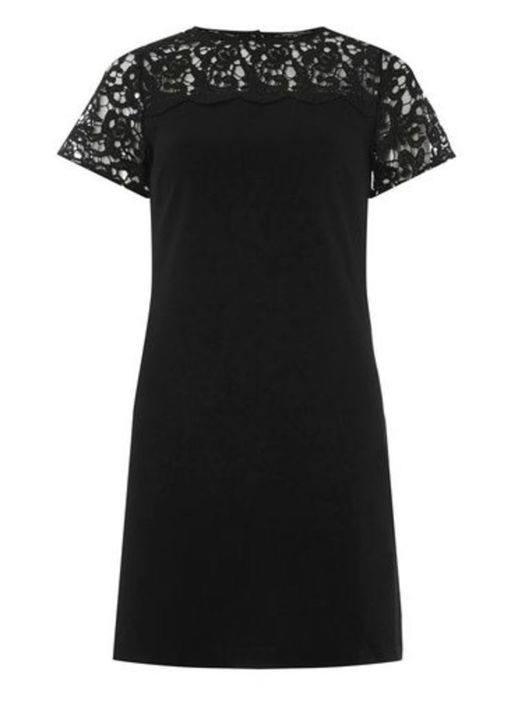Womens **Black Lace Mix Shift Dress- Black, Black