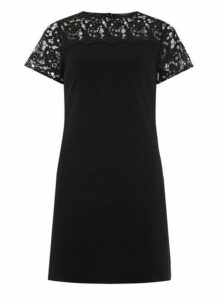 Womens **Black Lace Mix Shift Dress- Black, Black