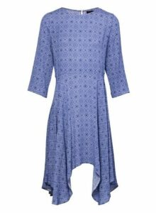 Womens *Izabel London Navy Geometric Print Hanky Hem Skater Dress, Navy
