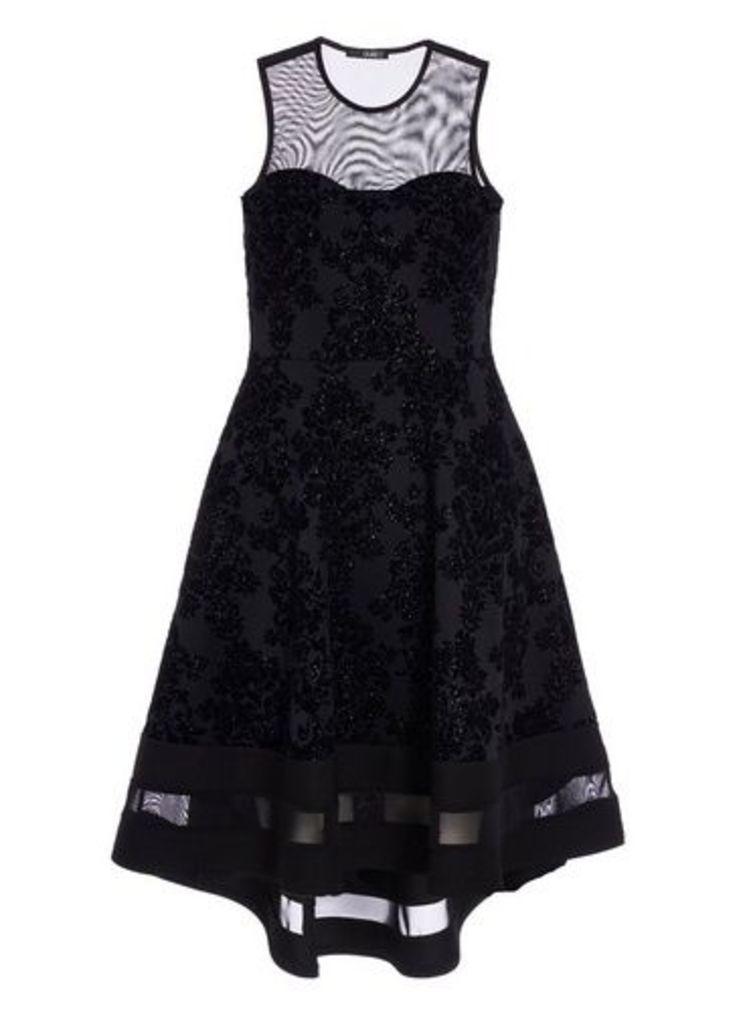Womens *Quiz Black Glitter Dip Hem Skater Dress- Black, Black