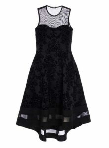 Womens *Quiz Black Glitter Dip Hem Skater Dress- Black, Black