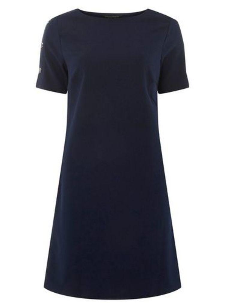 Womens **Navy Popper Sleeve Shift Dress- Blue, Blue