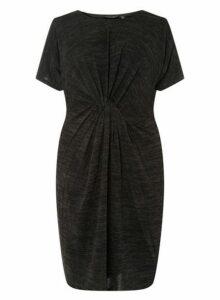 Womens **Dp Curve Black Brushed Twist Bodycon Dress- Black, Black