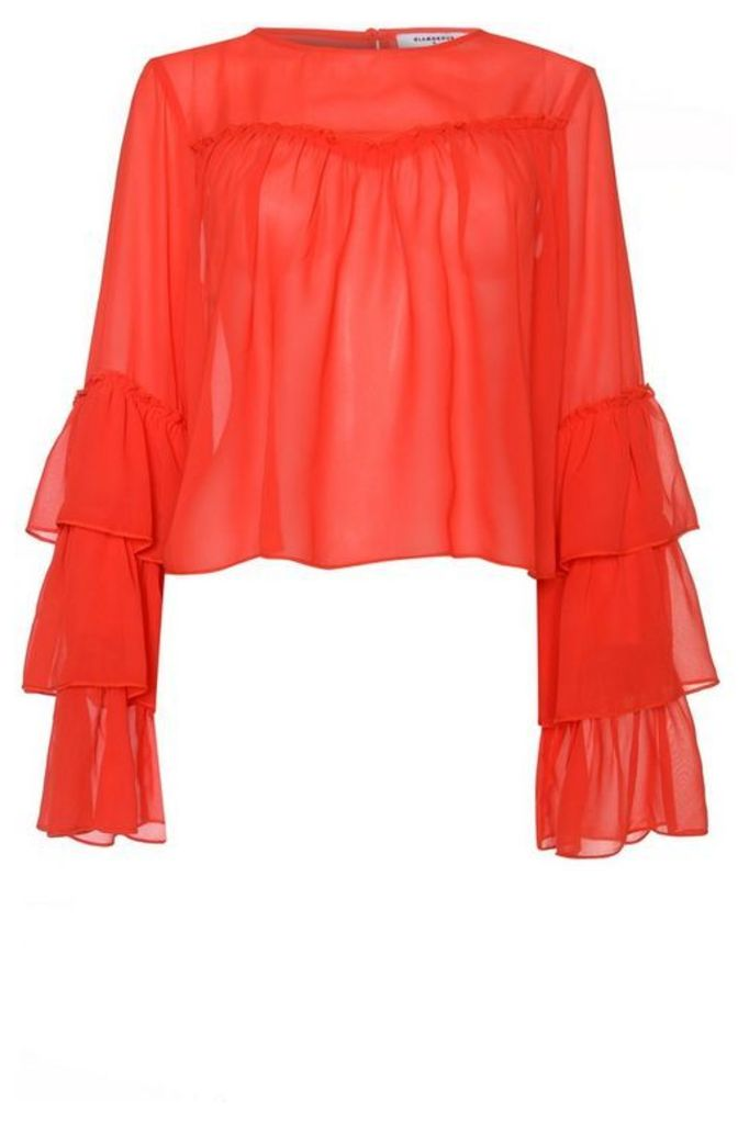 Womens **Sheer Ruffle Detail Blouse By Glamorous - Red, Red