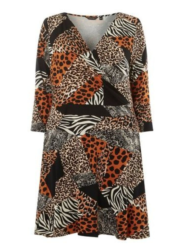 Womens **Dp Curve Black Leopard Print Mix Jersey Wrap Dress- Black, Black