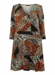 Womens **Dp Curve Black Leopard Print Mix Jersey Wrap Dress- Black, Black