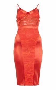 Red Lace Insert Satin Midi Dress, Red