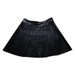 Leather mid-length skirt