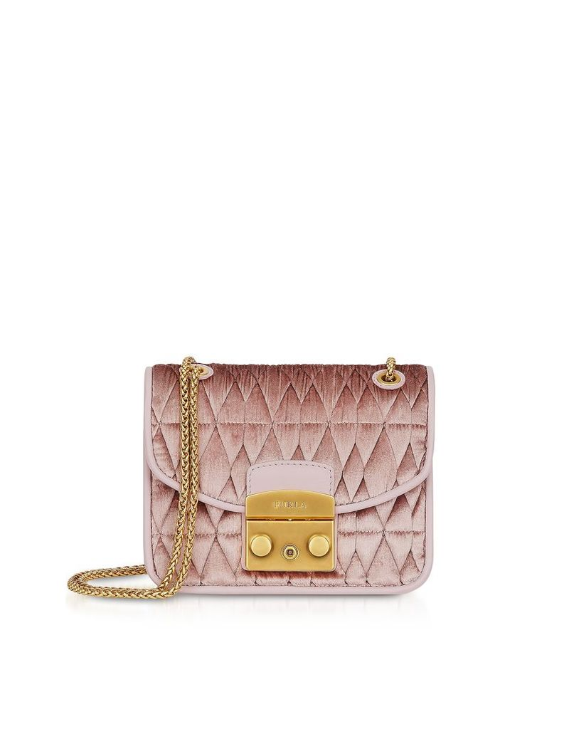 Furla Designer Handbags, Quilted Velvet Metropolis Cometa Mini Crossbody Bag