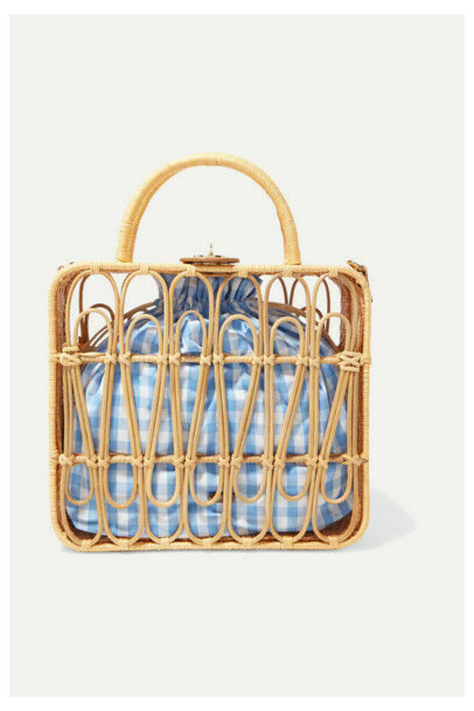 Kayu - Safia Leather-trimmed Rattan And Gingham Cotton-canvas Tote - Beige