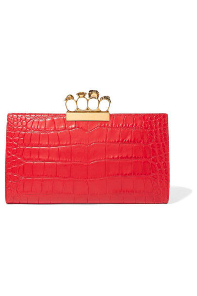 Alexander McQueen - Knuckle Embellished Croc-effect Leather Clutch - Red
