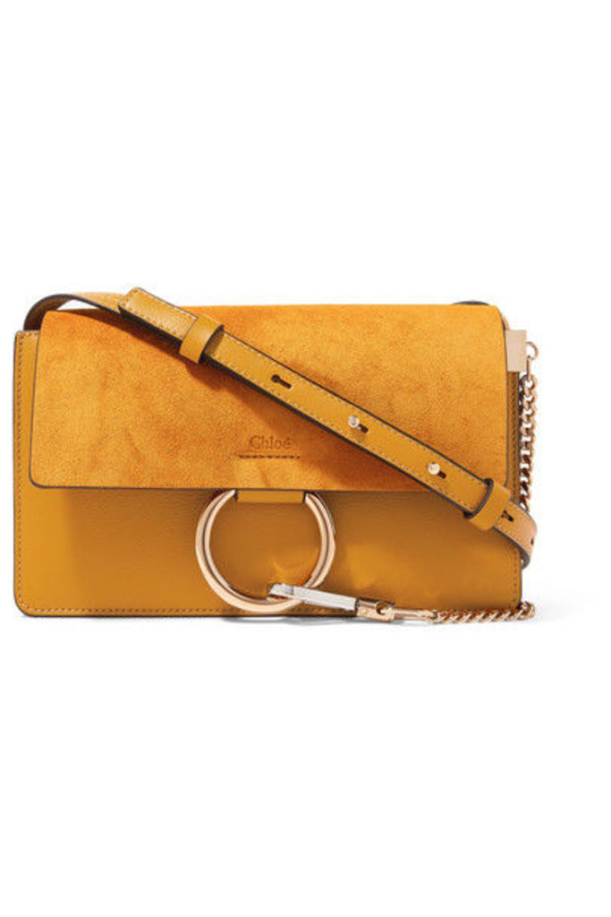Chloé - Faye Small Leather And Suede Shoulder Bag - Mustard