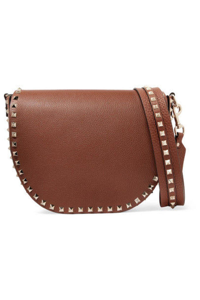 Valentino - Valentino Garavani The Rockstud Textured-leather Shoulder Bag - Tan