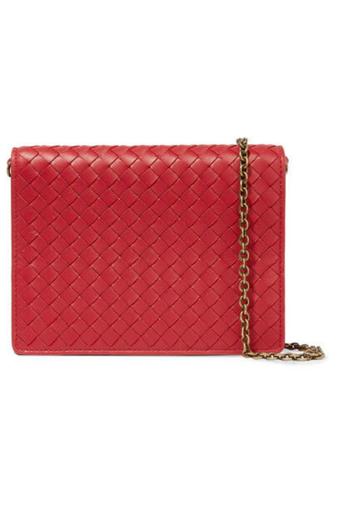 Bottega Veneta - Intrecciato Leather Shoulder Bag - Red
