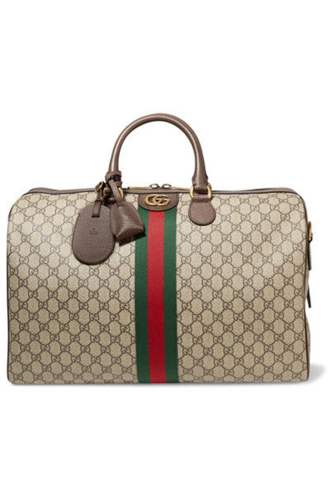 Gucci - Ophidia Medium Textured Leather-trimmed Printed Coated-canvas Weekend Bag - Brown