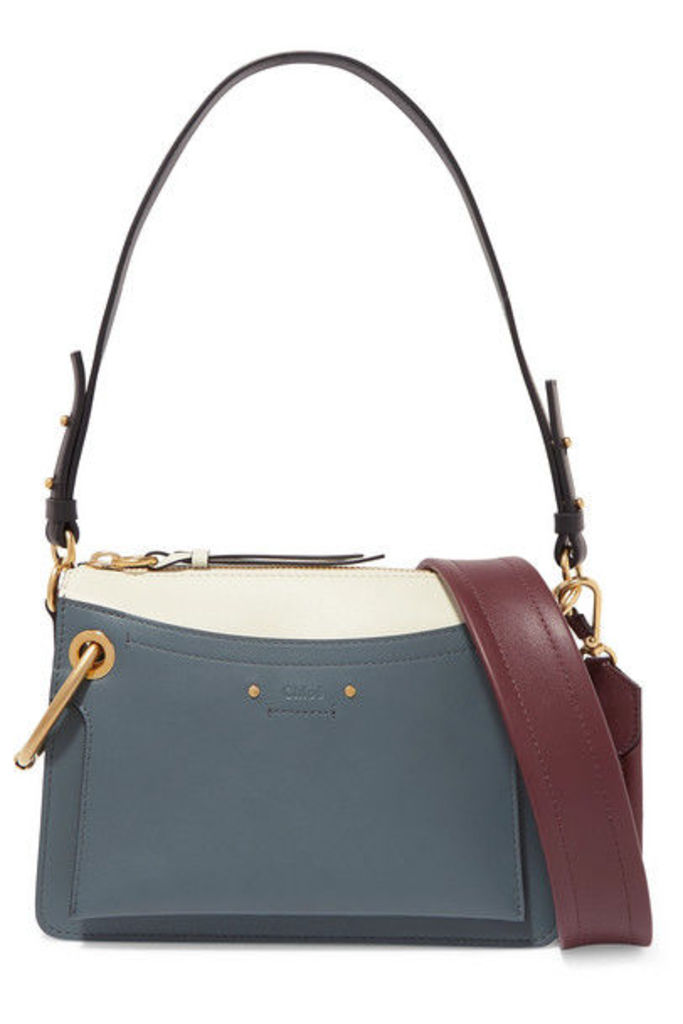 Chloé - Roy Day Small Leather And Suede Shoulder Bag - Blue