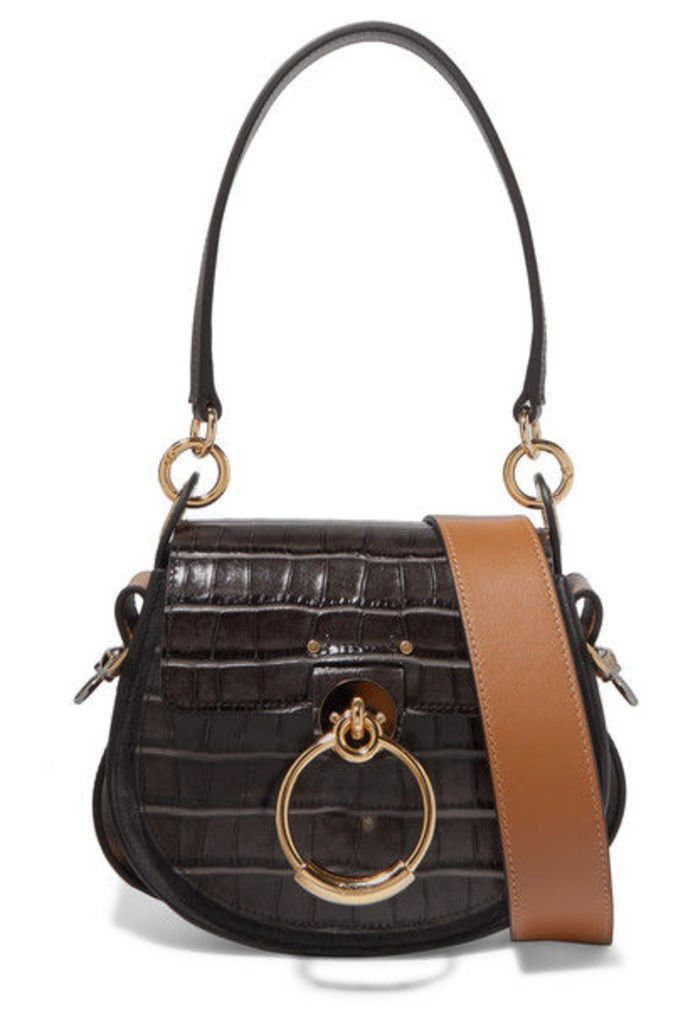 Chloé - Tess Small Croc-effect Leather And Suede Shoulder Bag - Dark brown
