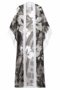 Marie France Van Damme - Printed Silk-chiffon Kimono - Black