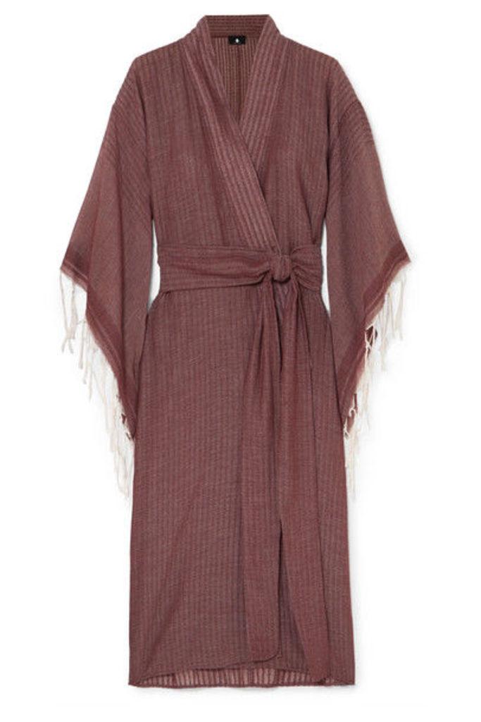 SU Paris - Kimo Fringed Cotton-gauze Kimono - Plum
