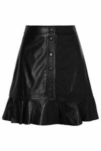 GANNI - Ruffled Leather Mini Skirt - Black