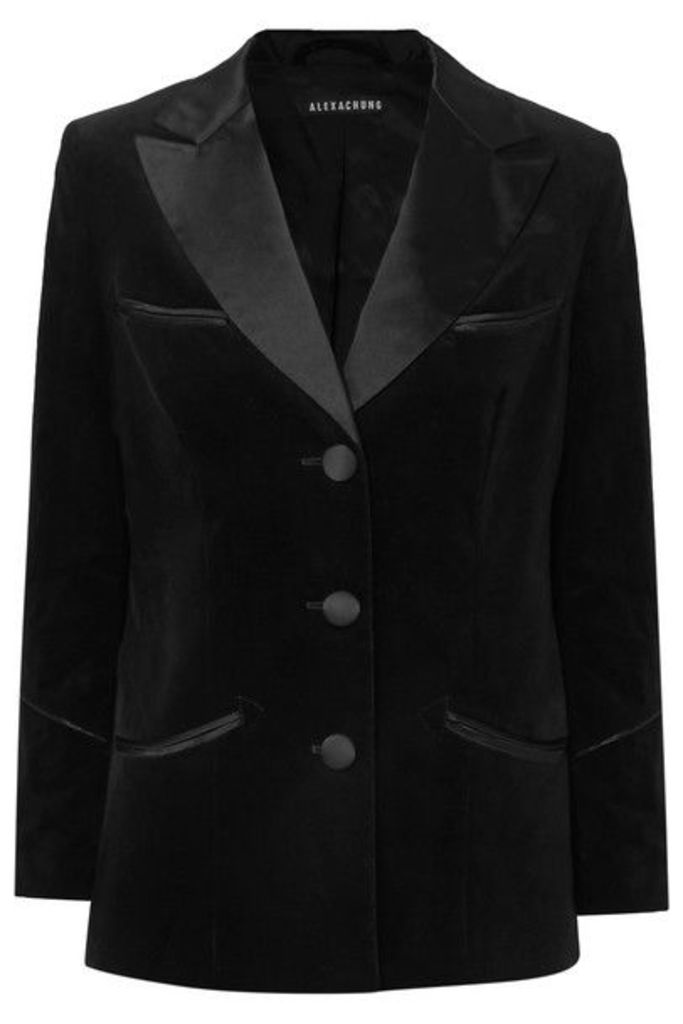 ALEXACHUNG - Satin-trimmed Cotton-velvet Blazer - Black
