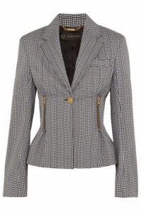 Versace - Houndstooth Cotton-blend Blazer - Black