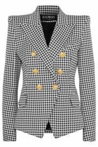 Balmain - Double-breasted Houndstooth Cotton-blend Jacquard Blazer - Gray