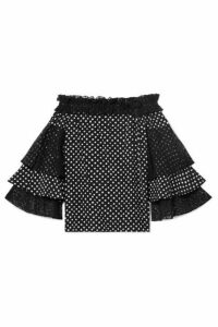 Michael Kors Collection - Off-the-shoulder Lace-trimmed Polka-dot Silk Crepe De Chine Top - Black