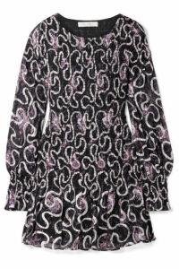 LoveShackFancy - Scarlett Smocked Silk-blend Georgette Dress - Navy
