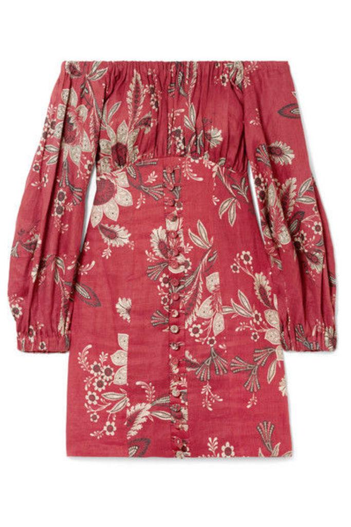 Zimmermann - Juno Off-the-shoulder Floral-print Linen Mini Dress - Brick