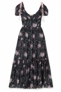 LoveShackFancy - Angie Gathered Floral-print Silk-georgette Maxi Dress - Midnight blue