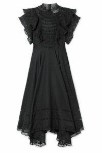 Zimmermann - Juno Ruffled Lace-trimmed Swiss-dot Cotton-voile Dress - Black